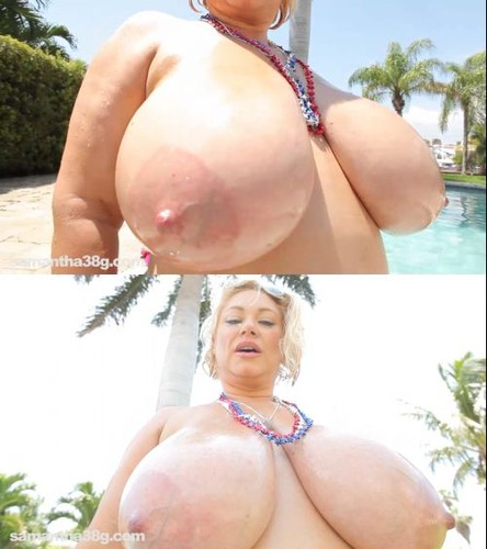 Samantha 38G   Red White And Enormous Natural Boobs HD