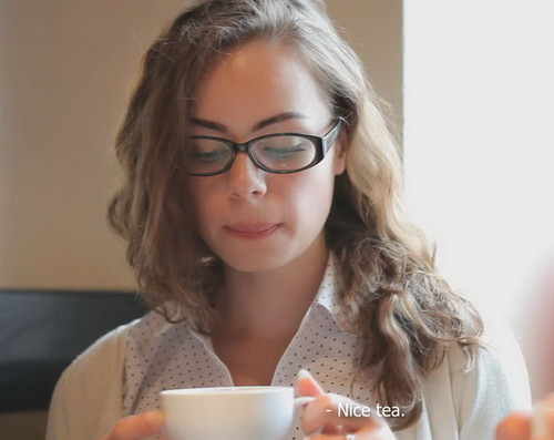 Adult school glasses teen guy smack lady